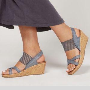 Skechers Beverlee Wedge Mesh Metallic Wedge Sandal
